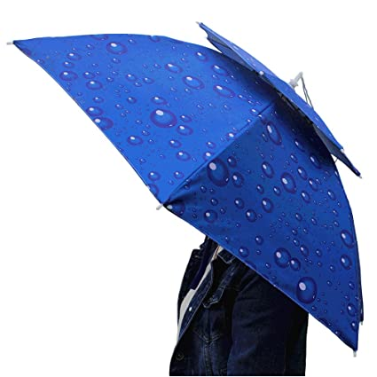 Luwint Hands Umbrella Hat - 31'' Diameter Windproof Elastic for Fishing Gardening in Outdoor Recreation (Blue)