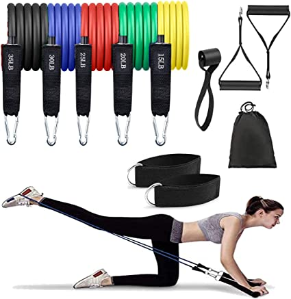 Yoga Physical Therapy 2 Ankle Straps /& 2 Foam Handles for Resistance Training Resistance Bands Set Exercise Bands with Door Anchor Home Workout Including Carry Bag