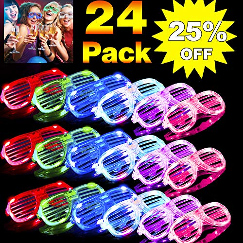 24 Pack LED Glasses Party Favors,6 Color Light Up Glasses Neon Party Suppliers Glow in The Dark Shutter Shades Rave Sunglasses for Adults Kids 4th of July Party Favors Birthday Holiday Party Bulk Toys