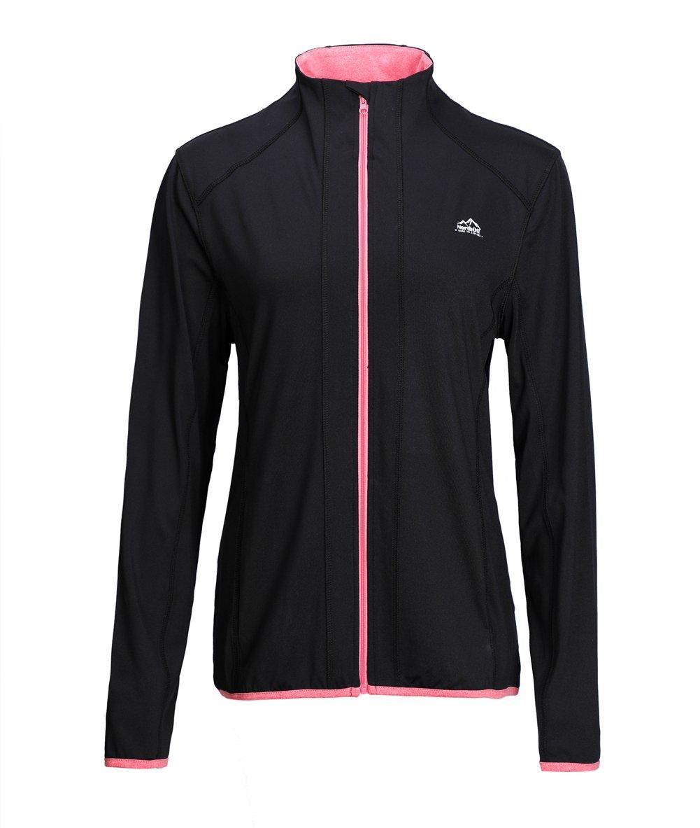 Dolcevida Women's Full Zip Long Sleeves Running Activewear Yoga Track Jackets (Black, L)