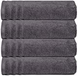 Glamburg Super Soft Zero Twist 4 Piece Oversized Bath Towel Set - 100% Pure Cotton - Luxurious, Fluffy, and Absorbent, 30x54 - Charcoal