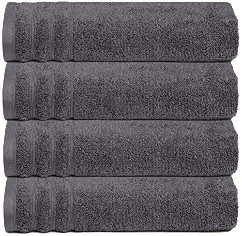 GLAMBURG Premium Quality - Super Soft Zero Twist 4 Pack Bath Towel Set - 100% Pure Cotton - 4 Oversized Bath Towels 30x54 - Luxurious Light Weight Quick Dry & Absorbent - Charcoal Grey