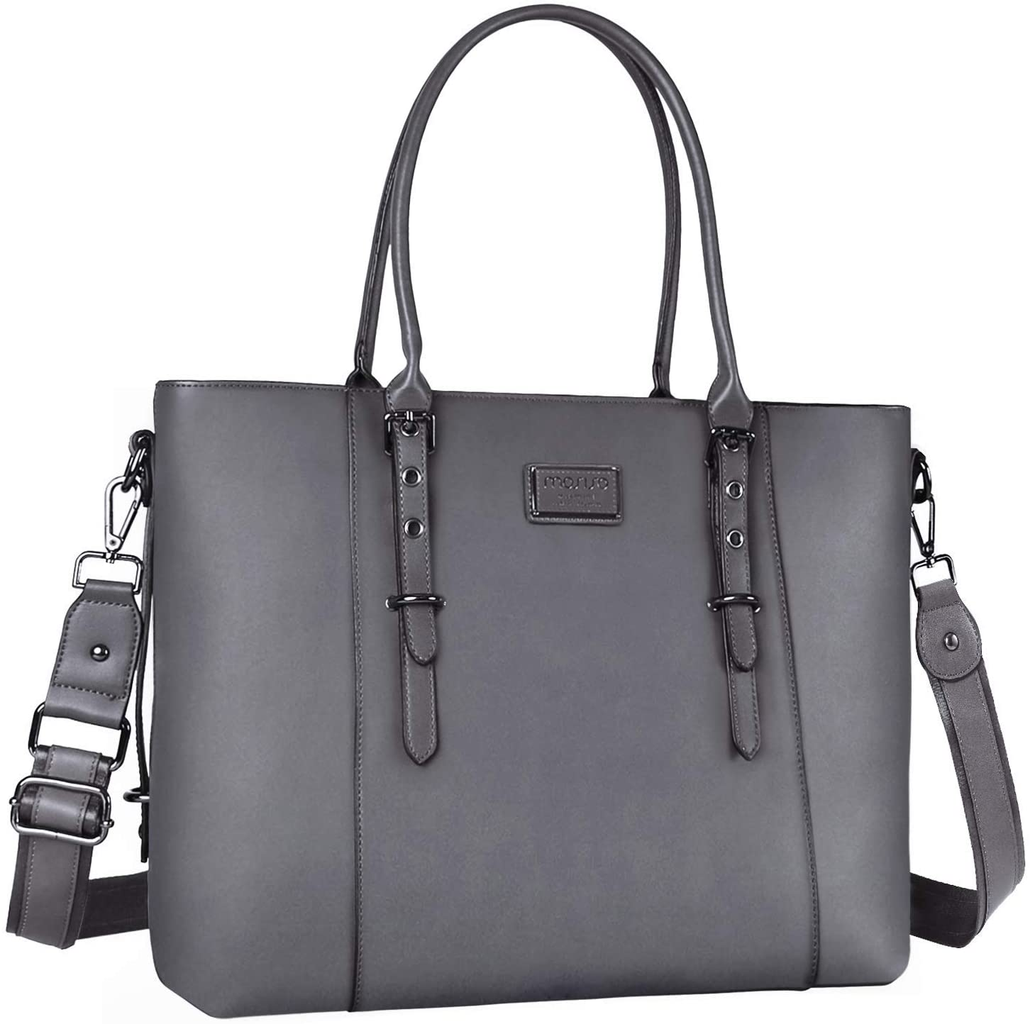 MOSISO PU Leather Laptop Tote Bag for Women (Up to 13.3 inch), Gray