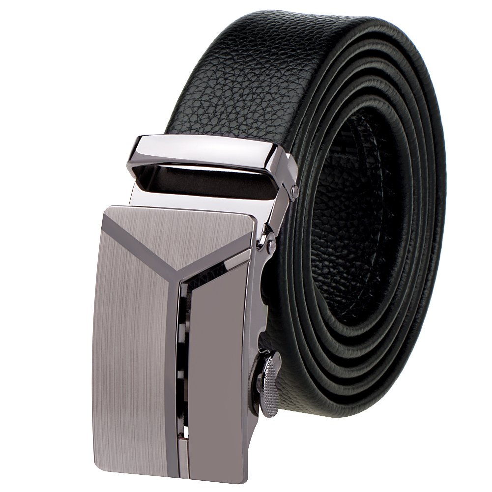 Vbiger Men's Shining Metallic Buckle Leisurable Business Cowhide Leather Belt (49.2 inches, Black 1)