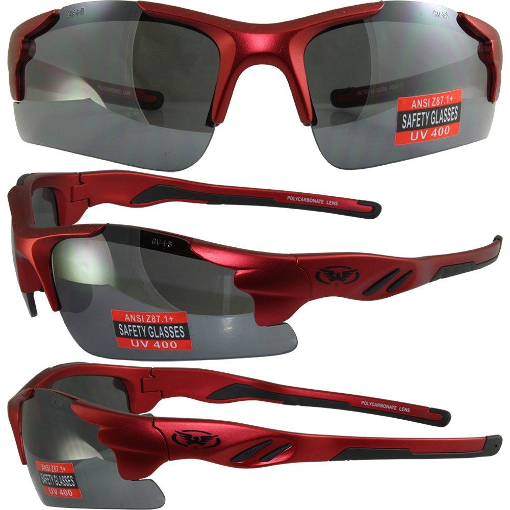 Global Vision Metro Safety Sunglasses Matte Metallic Red Frames Flash Mirror Lenses ANSI Z87.1+ 4333091067