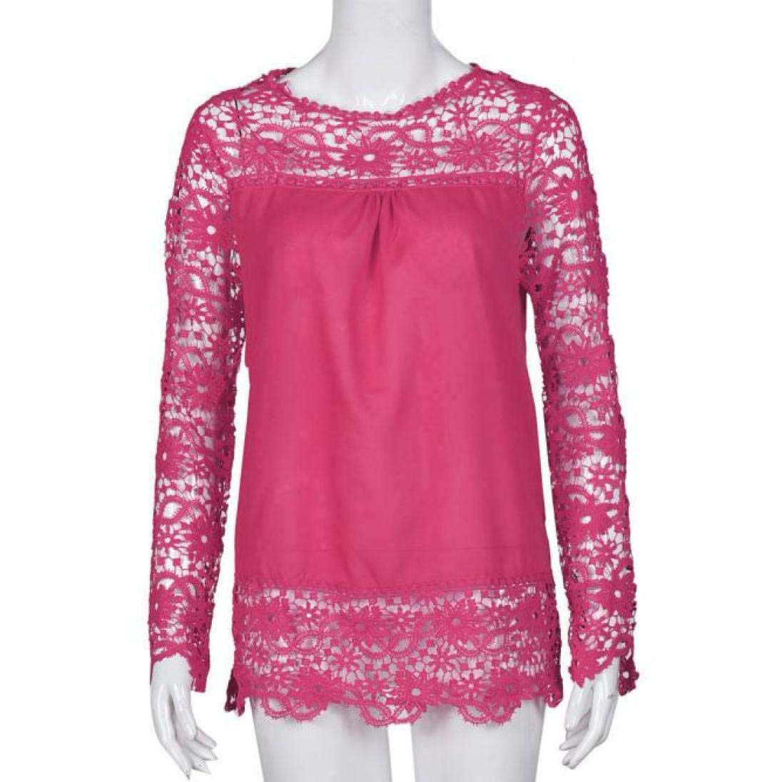 Women Plus Size Hollow Out Lace Splice Long Sleeve Shirt Casual Blouse Loose Top(hot red,Medium) by iQKA (Image #3)