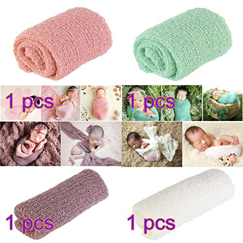Tinksky Long Ripple Wrap, DIY Newborn Baby Photography Wrap-BAby Photo Props Favors, Pack of 4 (Snow tooth-colored + Mint Green + Lilac + Off-white Color) (Favor Photo Wraps)