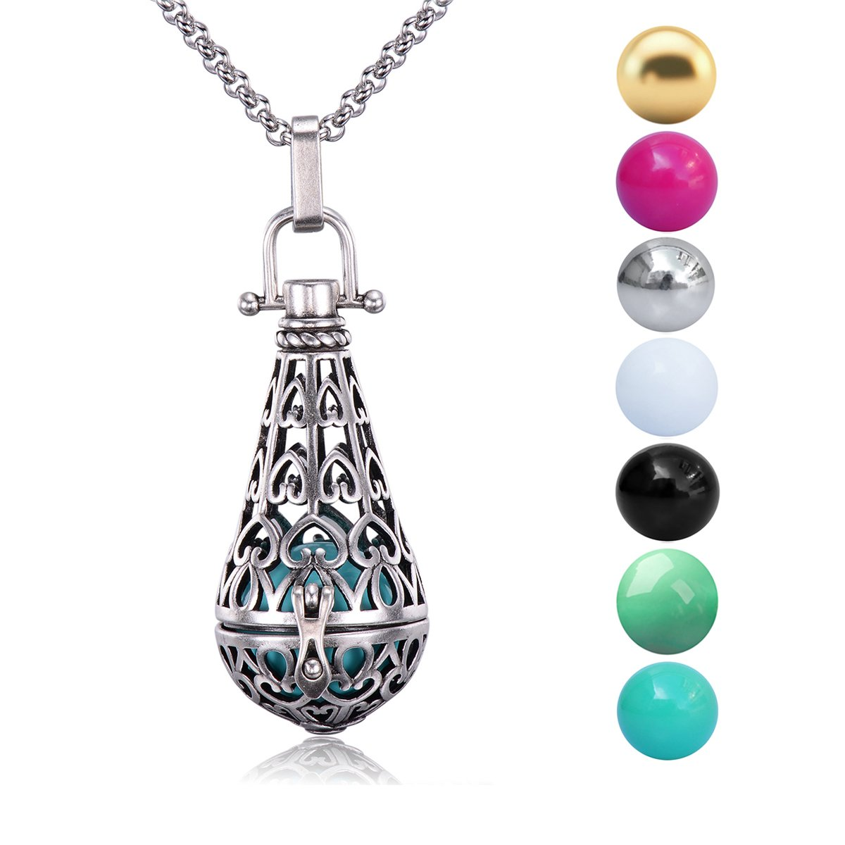 Antique Silver Teardrop Pendant 16MM Harmony Music Ball Mexican Bola Locket Pregnancy Necklace 30'' (7Pcs different color Inner Balls)