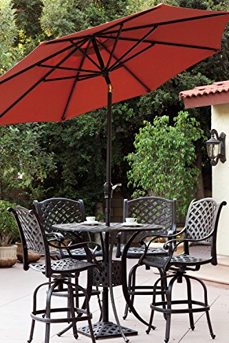 [Darlee Nassau Cast Aluminum 6-Piece Bar Set with Seat Cushions, 42-Inch Bar Table and Umbrella with Base, Antique Bronze Finish] (Bar Stool 6 Finishes)