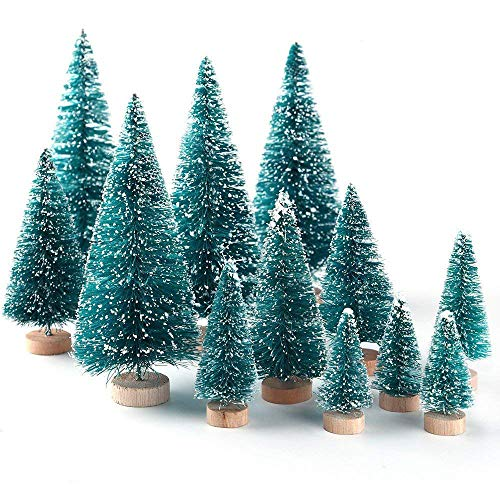 U-House Artificial Christmas Tree 8pcs Mini Pine Tree Snow Frost Wood Base Home Party Table Top Decor Christmas Ornaments DIY Craft