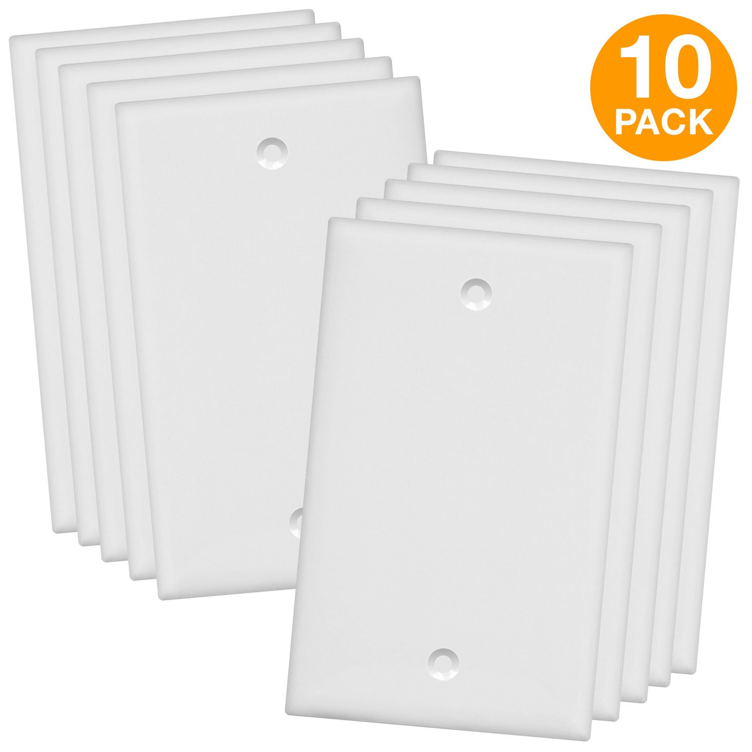 ENERLITES Blank Device Wall Plate, Size 1-Gang 4.50'' x 2.76'', Polycarbonate Thermoplastic, 8801-W-10PCS, White (10 Pack), 10 by ENERLITES