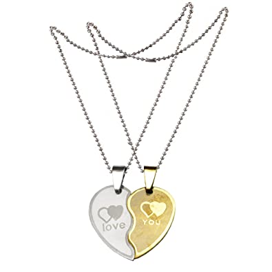 beeba98602 Sullery New Couple Lovers Heart Love You Jewelry For Friendship Gift (2  pieces - his and her) and Stainless Steel Heart Pendant For Unisex:  Amazon.in: ...