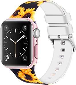 Greatfine Sport Band Compatible for Apple Watch Band 38mm 42mm 40mm 44mm,Soft Silicone Strap Replacement iWatch Bands Compatible with Apple Watch Series 5 4 3 2 1 (Sunflower, 38mm/40mm)