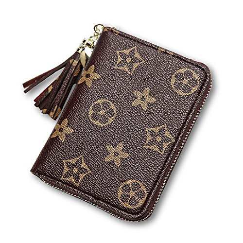 Van Persie Small Compact Coin Zipper PU Leather Pocket Wallet (Brown) (Handbags Louis Fake Vuitton)