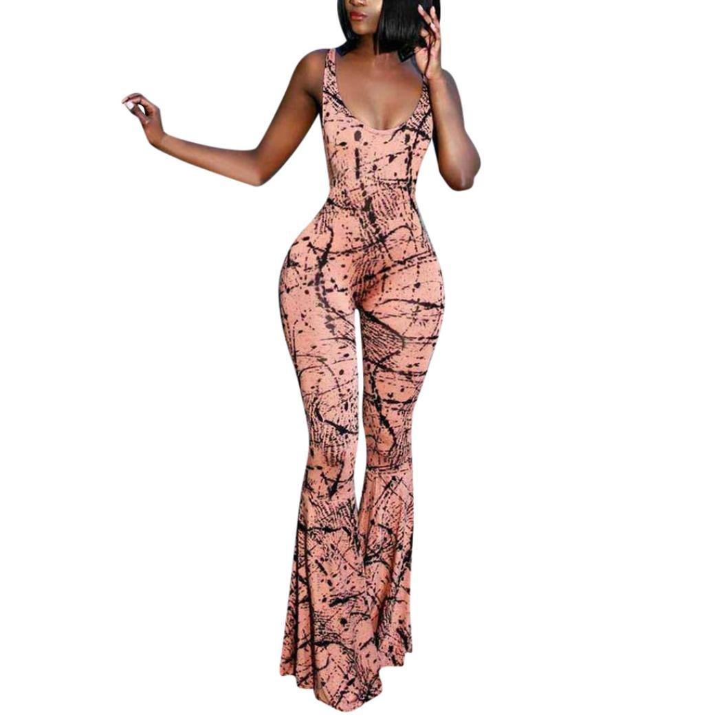 RAISINGTOP Women Sexy Romper Dress Elegant Indie Fork Printed Wide Leg Jumpsuit Pants Leggings Boot Cut Party Clubwear (Pink, S)
