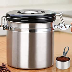HOMICHEF 16 oz Stainless Steel Coffee Container Airtight With Scoop And 1-Way CO2 Valve - Medium Coffee Bean Storage Container Airtight - Vacuum Sealed Coffee Ground Storage Container Airtight