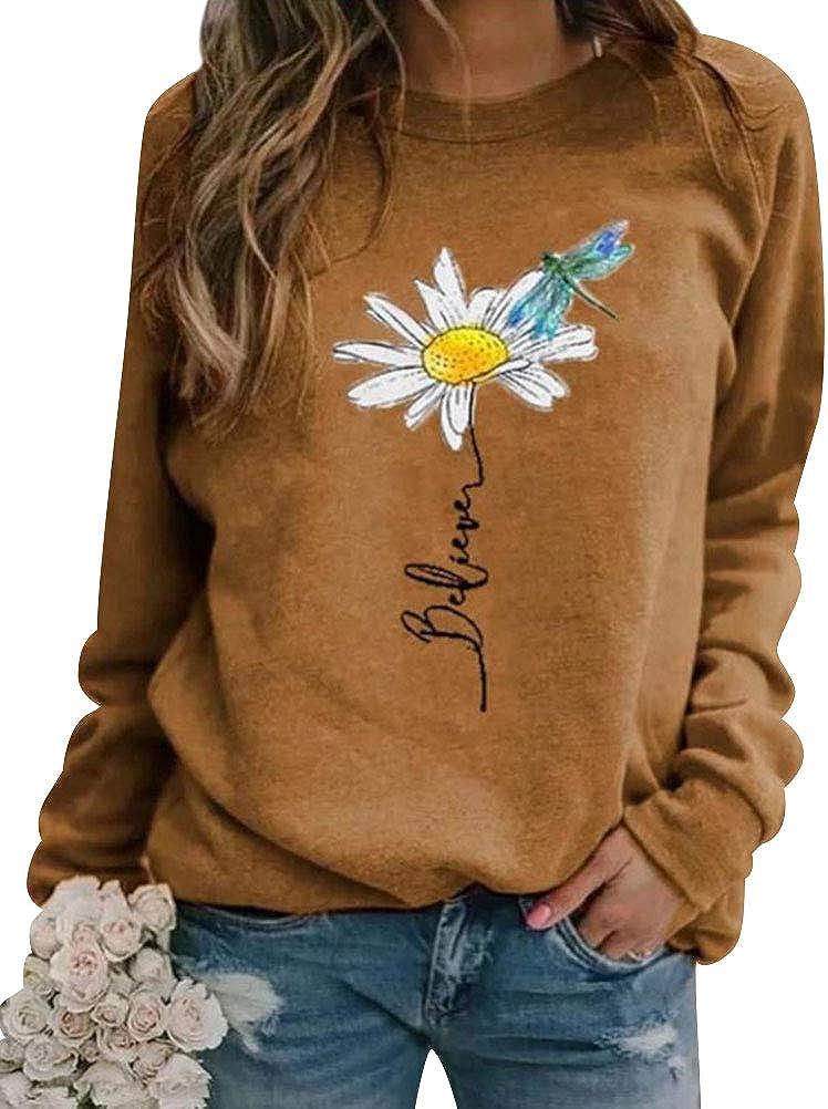 FEMLE Women Believe Letter Flower Printed Crew Neck Long Sleeve Casual Sweatshirts Fashion Tops