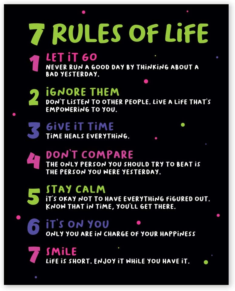 7 Rules of Life Inspirational Wall Art Prints - Unframed 8x10 - Encouraging Quotes for Office Decor - Motivational Home Pictures - Positive Sayings Poster for Classroom School
