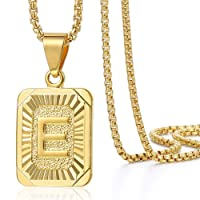 Initial A-Z Letter Pendant Necklace Mens Womens Capital Letter Yellow Gold Plated Stainless Steel Box Chain 22inch