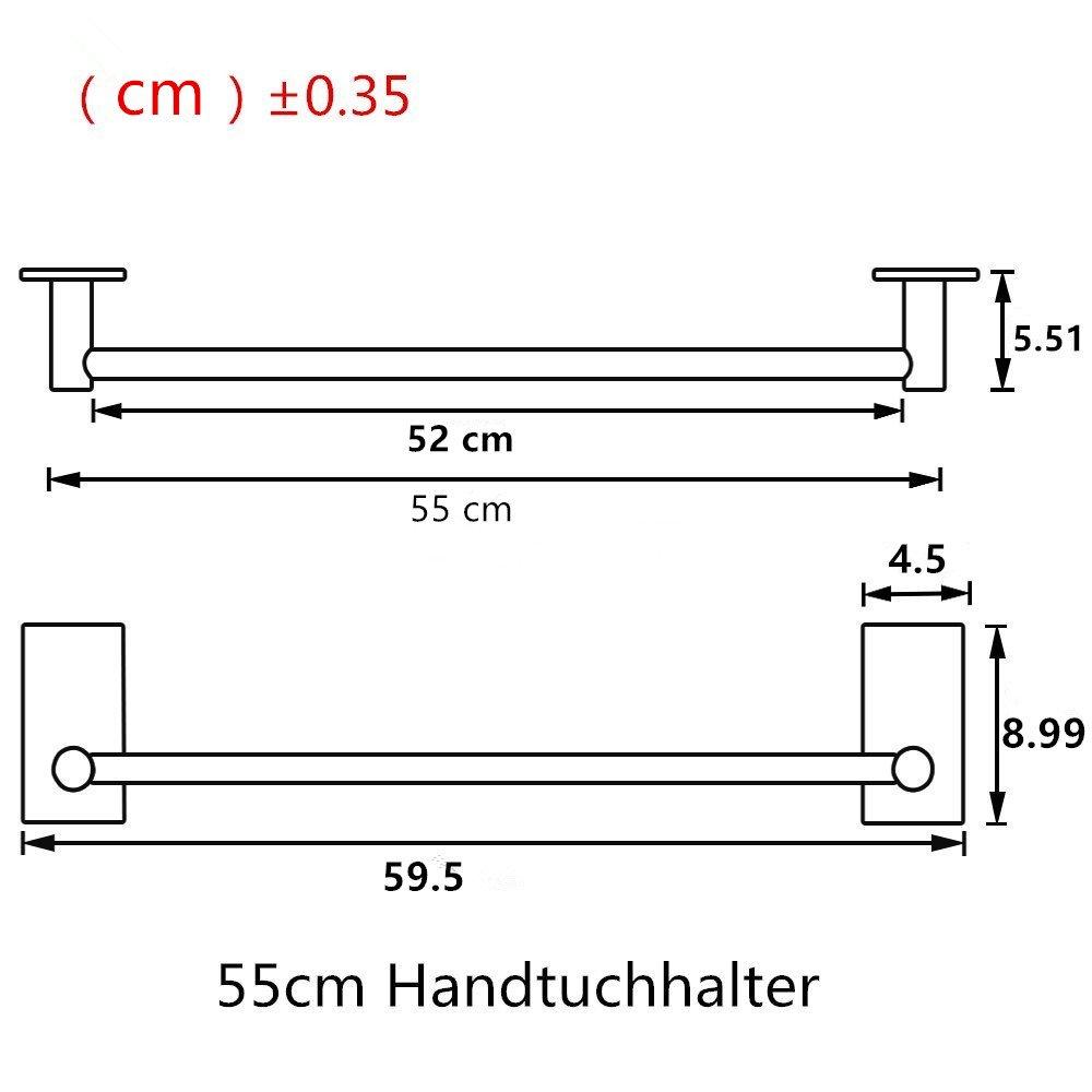 Selbstklebender Handtuchhalter geb/ürstetem Edelstahl Handtuchstange Ohne Bohren Bad und K/üche 55cm