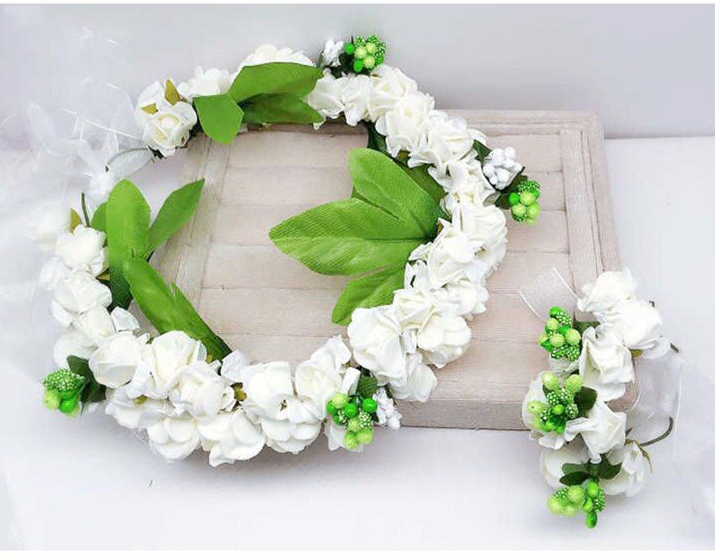 Wreath Flower, Headband Flower Garland Handmade Wedding Bride Party Ribbon Headband Wristband Hairband Blue/Pink/Purple (Color : White)