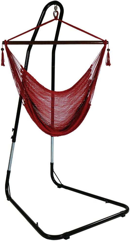 """Sunnydaze 40"""" Hanging Caribbean XL Hammock Chair with Adjustable Stand - Red - 300 lbs Weight Capacity"""