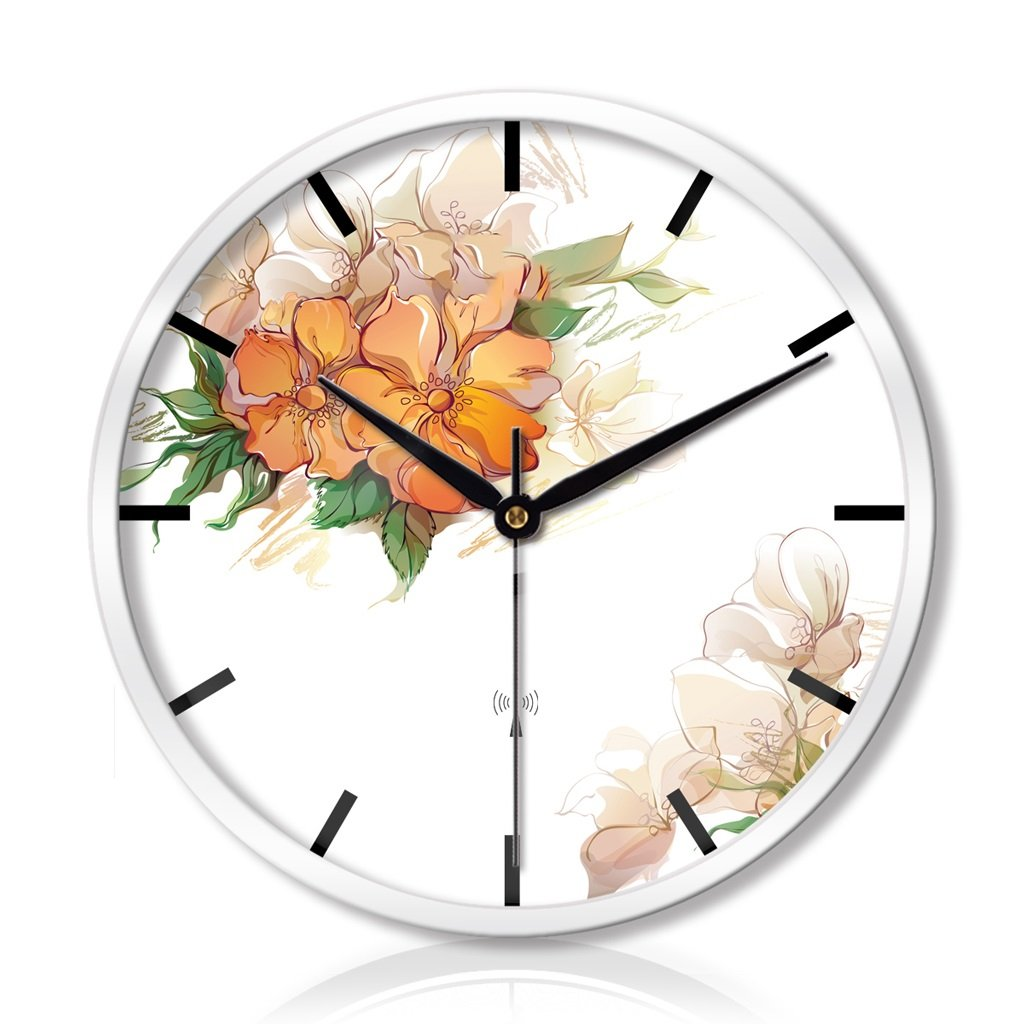 LINGZHIGAN リビングルームのベッドルームクリエイティブメタルウォールクロックサイレントスキャンスマート電気時計 (色 : 白, サイズ さいず : 14 inches) B07FRB6XGQ 14 inches|白 白 14 inches