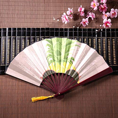 (JXCSGBD Japanese Fans Folding Fans Kids Sun and Hibiscus Stripes with Bamboo Frame Tassel Pendant and Cloth Bag Paper Chinese Fans The Hand Fan Chinese Fans for Kids)