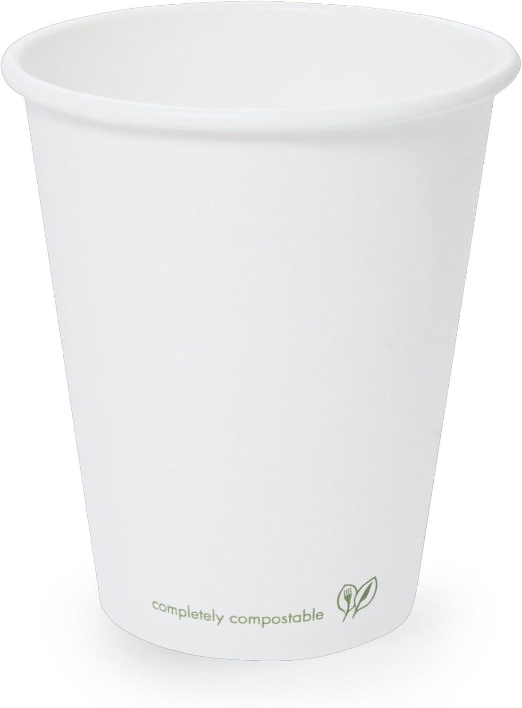 Plantvibes® 50 Bio Vasos desechable para café, Amigable para el Medio Ambiente Vaso Coffee to go de PLA, Vasos de Papel para Bebidas Calientes, Vasos de café compostables