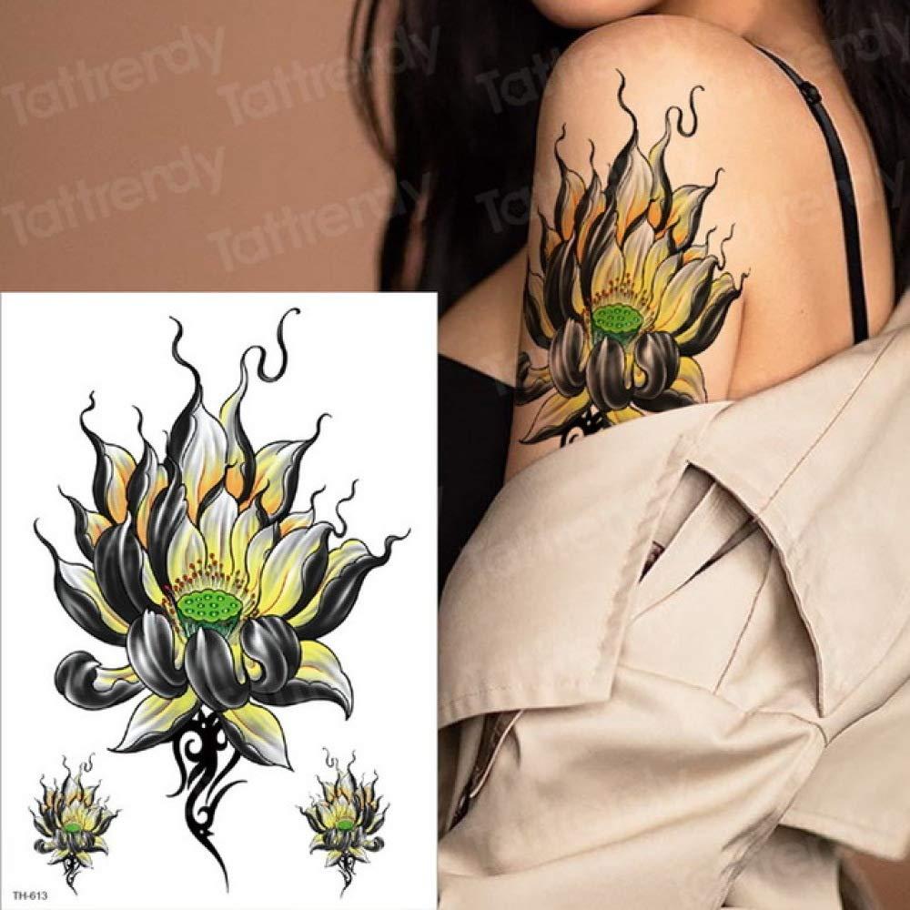 3 Piezas Tatuaje Flor Transferencia de Agua Tatuaje Mujer Chica ...