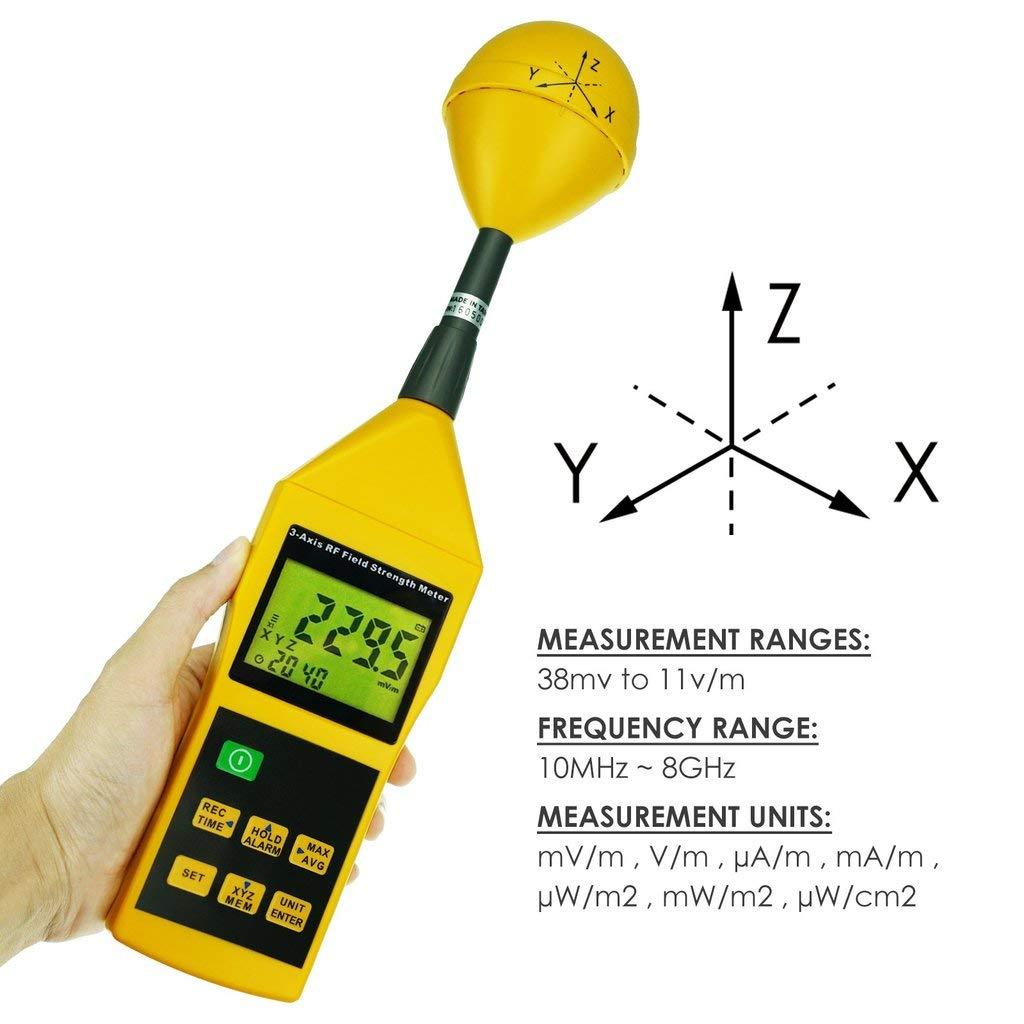 RF-8GZ Triple Axis RF Power Meter/Detector de medición 10 MHz a 8 GHz HF EMF Radiación (ElectroSmog) – Teléfonos celulares/torres, Smart Meters, WiFi, ...