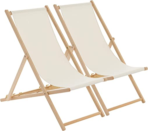 Oferta amazon: Harbour Housewares Tumbona reclinable y Plegable - Ideal para Playa y jardín - Estilo Tradicional - Crema - Pack de 2
