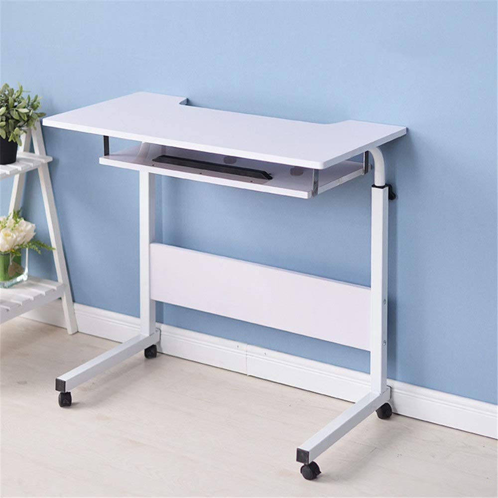 Bed Desk Wood Computer Desks Trolley Table with Keyboard Tray and Storage Shelves for Small Spaces Home Office Furniture Portable (Color : White, Size : 408070-90cm)