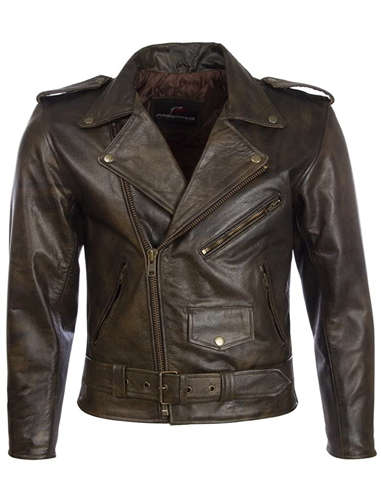 Aviatrix Men's Belted Biker Jacket in Real Cow Leather Real Sheepskin Leather (N2KG)