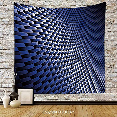 (Upscale Tapestry Wall Hanging [ Dark Blue,Curvy Carbon Fiber Texture Image Abstract Industrial Modern Grid,Dark Blue Royal Blue White ] Fabric Wall Hanging Decor for Bedroom Living Room Dorm, 68