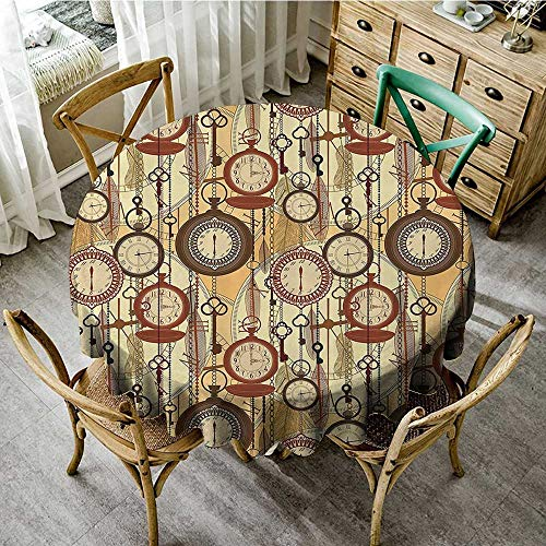 familytaste Tablecloth Round WeddingBeige Decor Collection,Retro Style Old Nostalgic Watches Feathers and Keys 1920s Modern Bohemian Art Living,Brown Red Yellow D 54