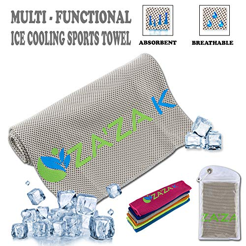 ZAZA K Cooling Towel for Instant Cooling Relief, Cooling Towels for Neck (40X12), for Women Men Kids Fitness Yoga Workout Gym Pilates Running Travel Camping Golf Microfiber Chilly Towel (Grey)