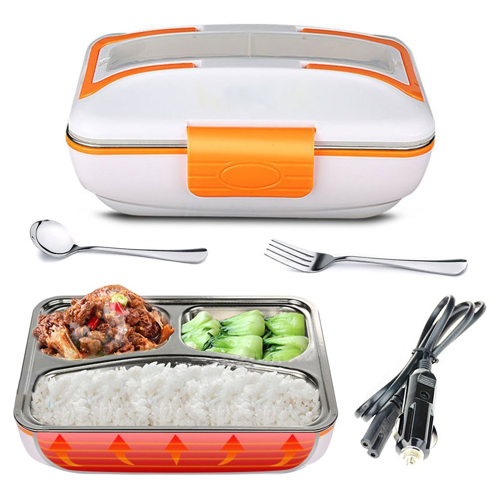 YOUDirect Electric Heating Lunch Box - Portable Bento Meal Heater Car Food Warmer Stainless Steel Plug Heating Food Container Leak-Resistant Reusable Electronic Food Boxes for Car Use (Orange)