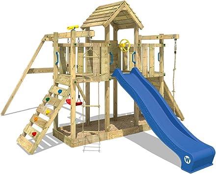 WICKEY Parque infantil de madera Smart Twister con columpio y tobogán azul, Torre de escalada de exterior con arenero y escalera para niños