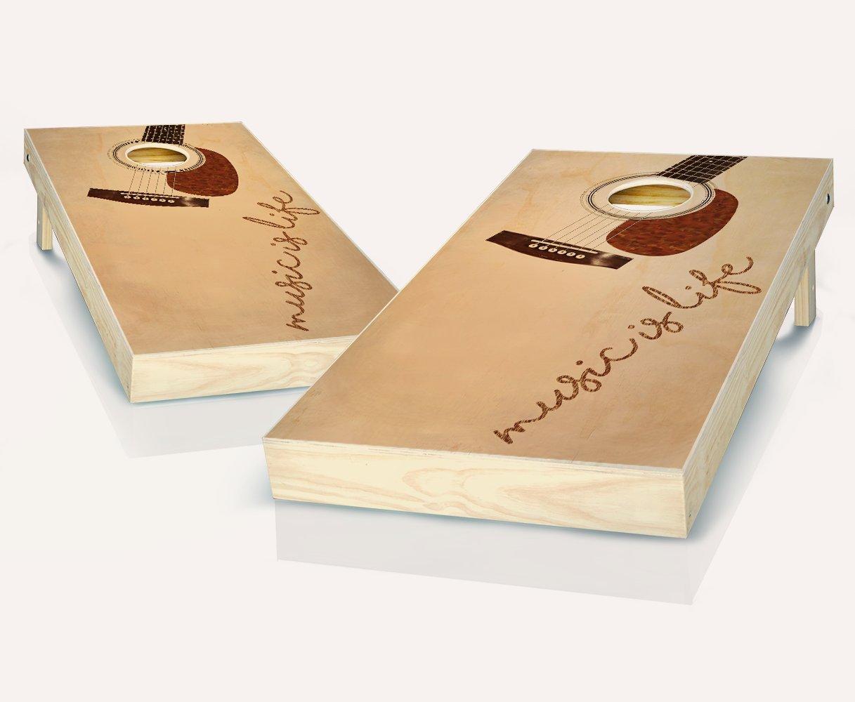 音楽はLifeエボニーStained Cornhole Boards withのセット8 Cornhole Bags B07BH33LZT