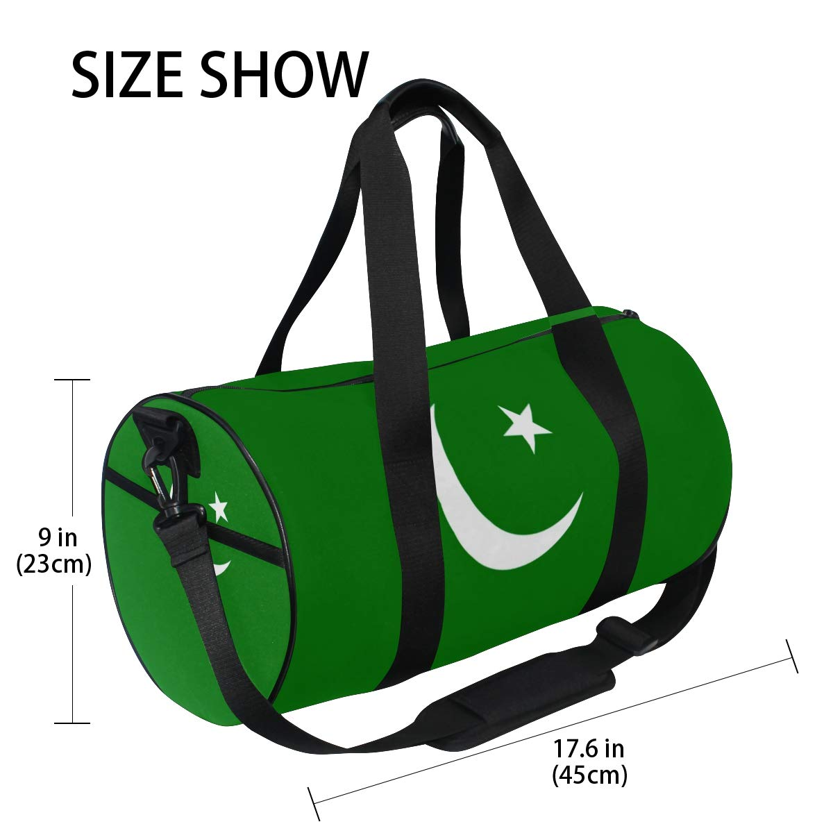 Travel Weekender Duffel Bag for Man and Woman Gym Bag with Pakistani Flag Pakistan Cresent Moon Print