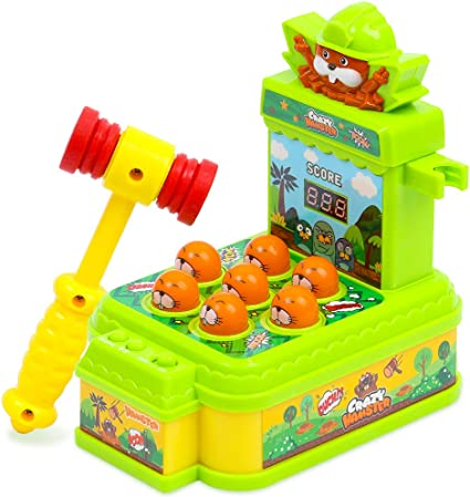 KooQii Whack a Mole Game(Blue Toddlers Toys for hammering /& pounding Target Shooting with 2 Toy Guns and Hammers Interactive Toys for 3 4 5 6 7 8 Year Old Boys and Girls