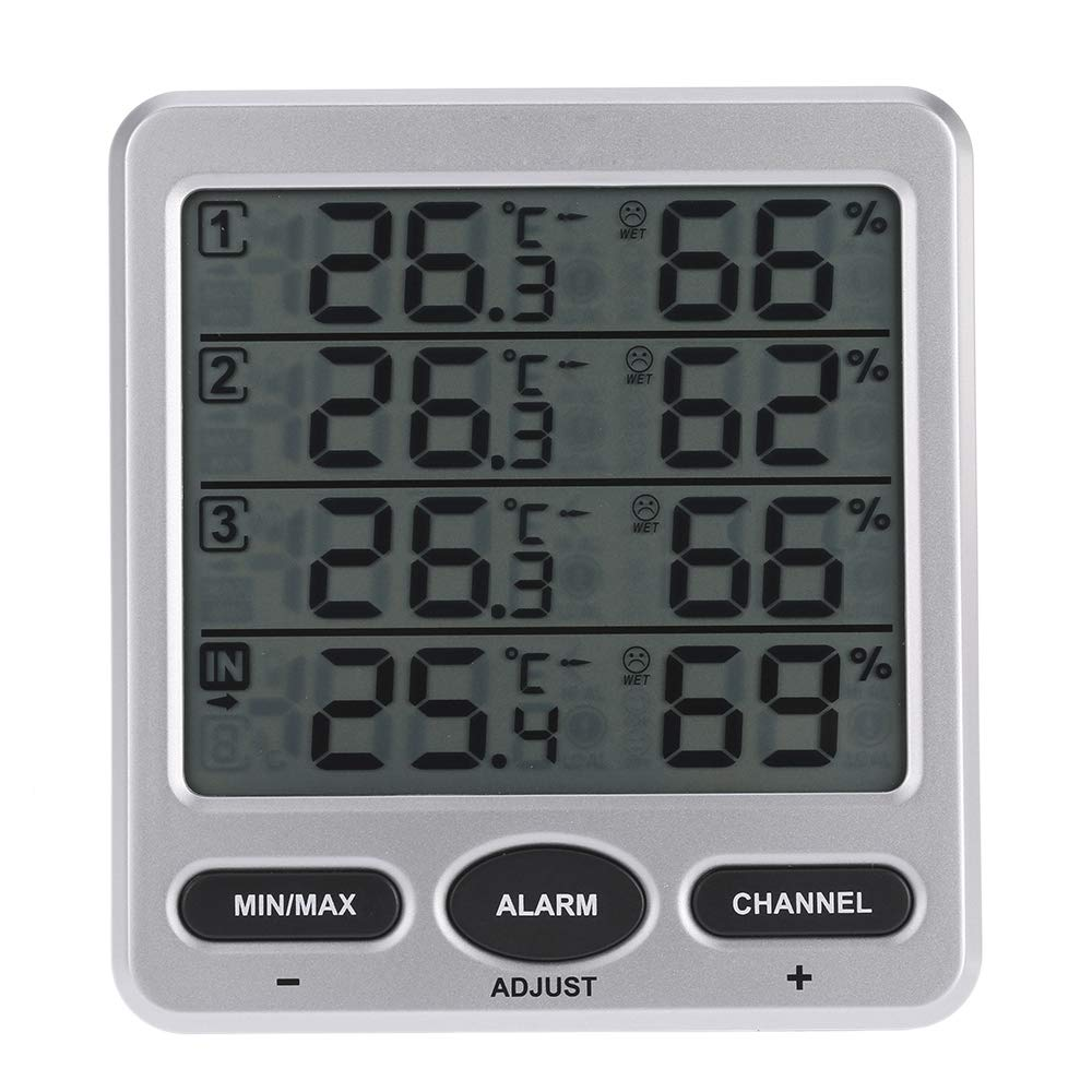 SODIAL Multi-Function LCD 8-Channel Indoor/Outdoor Temperature and Humidity Meter with Four Remote Sensor Alarm Function Digital 433Mhz