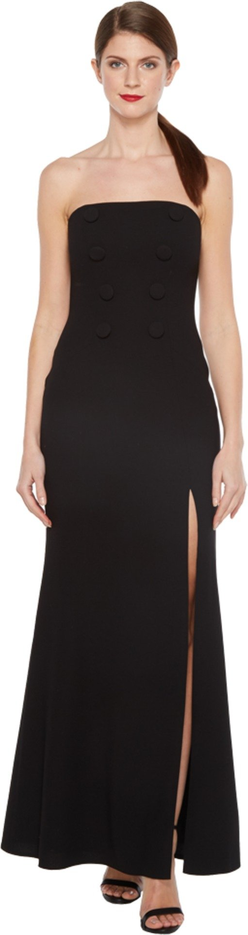 JILL JILL STUART Women's Strapless Hourglass Gown with Center Buttons, Front Slit and Side Pockets Black 14
