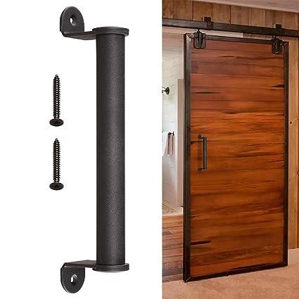 "yescom 10\"" sliding barn door cylindrical handle heavy duty iron pull gate cabinet matte coffee for wooden door"