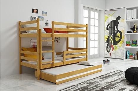 Letto triplo ERYK 190x90, lettino a castello con terzo letto ...
