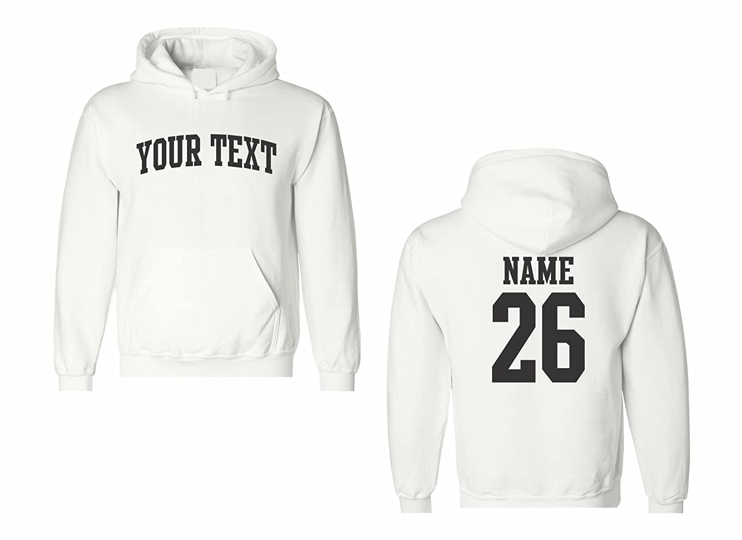 Men's Custom Personalized Hooded Sweatshirt, Front Arched text, Back Name...