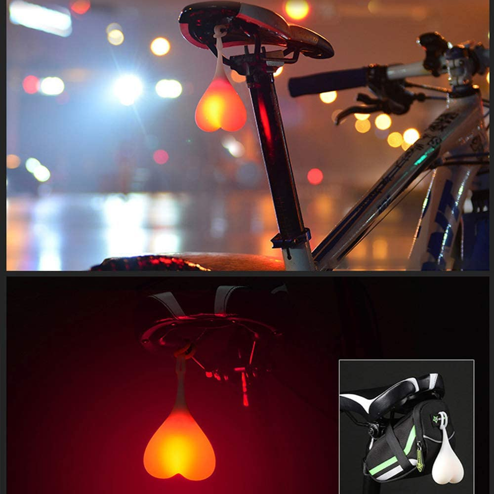 LEDNO 2 Pezzi Luce Posteriore per Bicicletta Sfera di Coda in Silicone per Bicicletta a Forma di Cuore Creativa Antiurto e impermeabile per Una Sicurezza Ottimale in Bicicletta