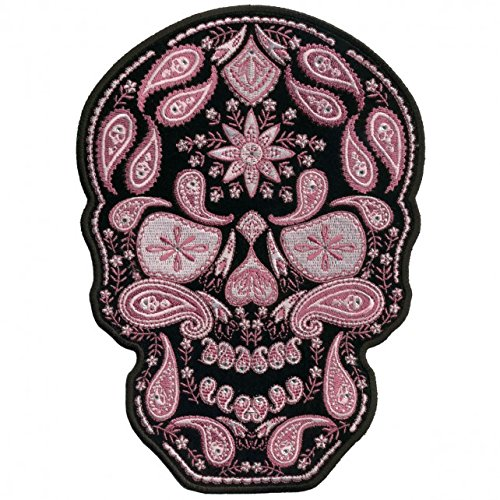 Hot Leathers, PINK PAISLEY SKULL WITH RHINESTONES LADIES, Iron-On / Saw-On Rayon PATCH - 6
