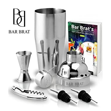 5 Piece Deluxe 24 Oz. Cocktail Shaker Bar Set by Bar Brat ™ / Bonus 130+ Cocktail Recipes (ebook) / Jigger, 2 Pour Spouts, Waiters Corkscrew/Mix Any Drink To Perfection